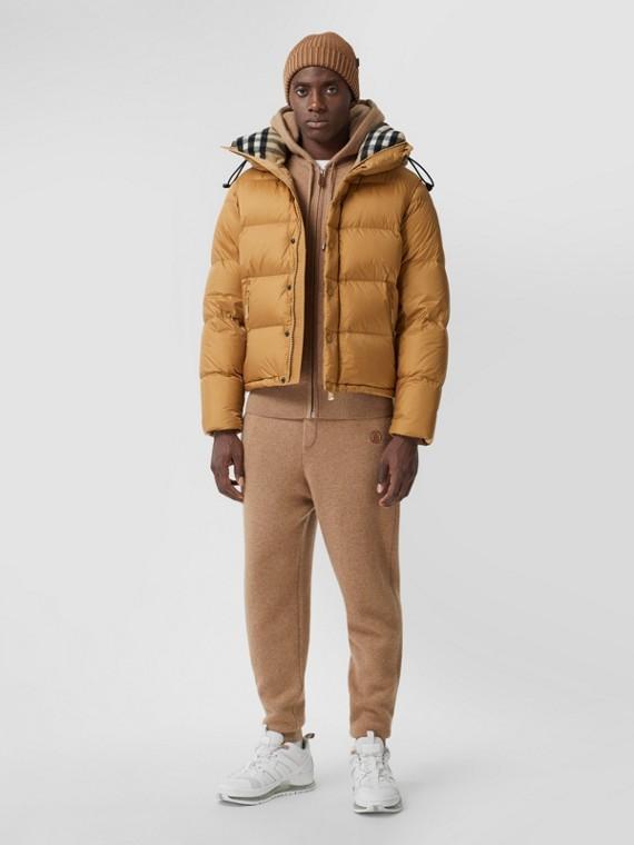 Wattierte Jacke mit Kapuze und abnehmbaren Ärmeln (Warmes Honiggelb)