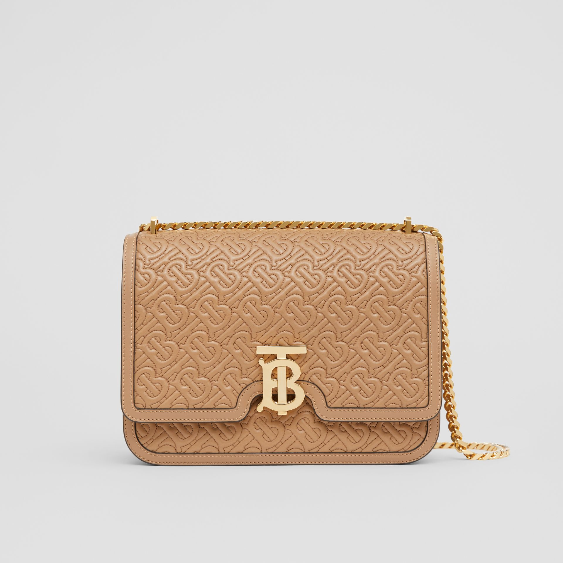 Medium Quilted Monogram Lambskin TB Bag in Honey - Women | Burberry United Kingdom - gallery image 0