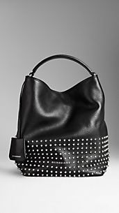 Medium Studded Leather Hobo Bag