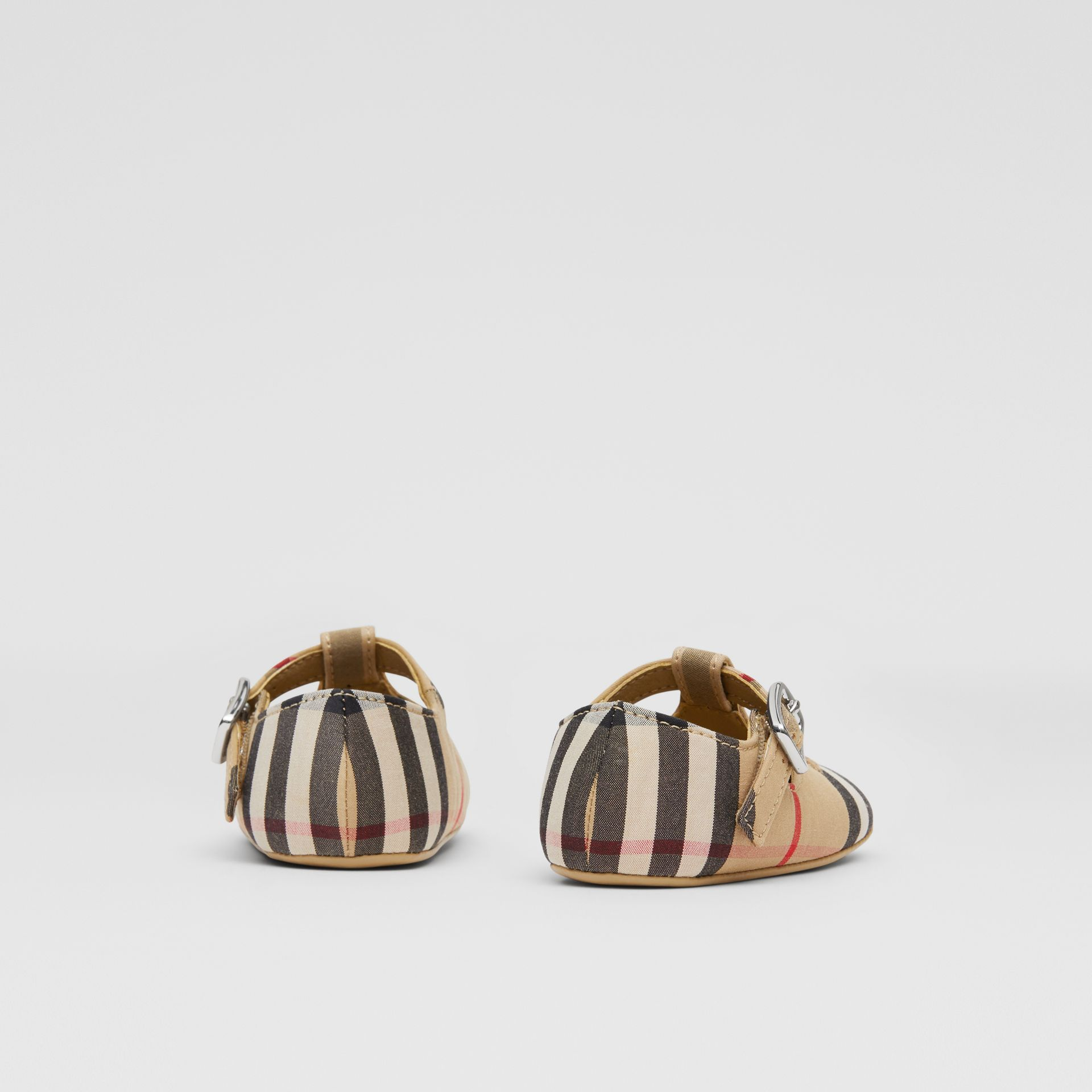 Vintage Check Cotton T-bar Shoes in Archive Beige - Children | Burberry United Kingdom - gallery image 2