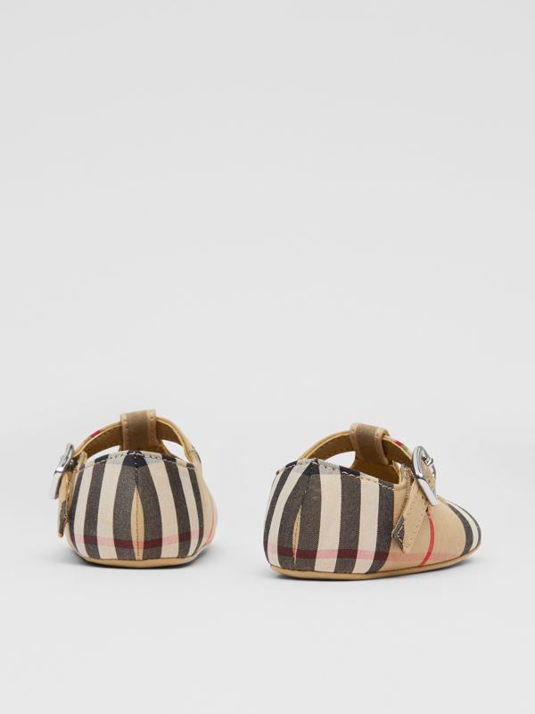 Vintage Check Cotton T-bar Shoes in Archive Beige - Children | Burberry United Kingdom - cell image 2