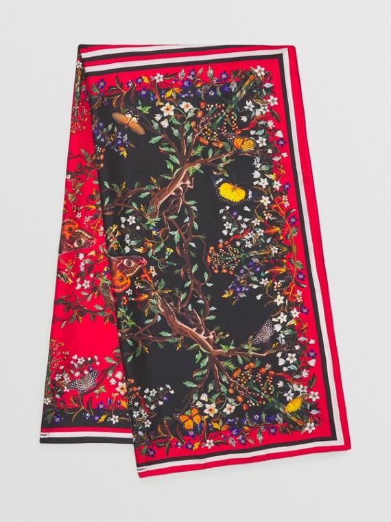 Floral Print Silk Scarf in Multicolour