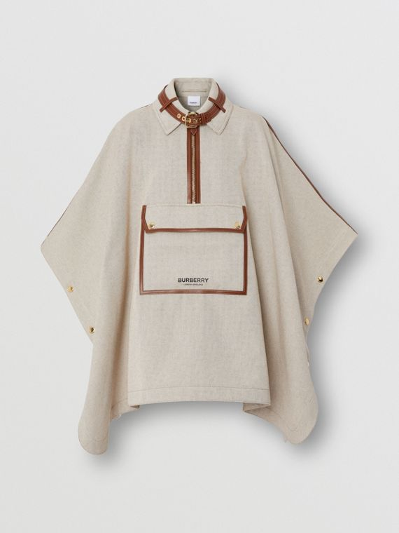 Leather Trim Cotton Canvas Cape in Soft Fawn Melange