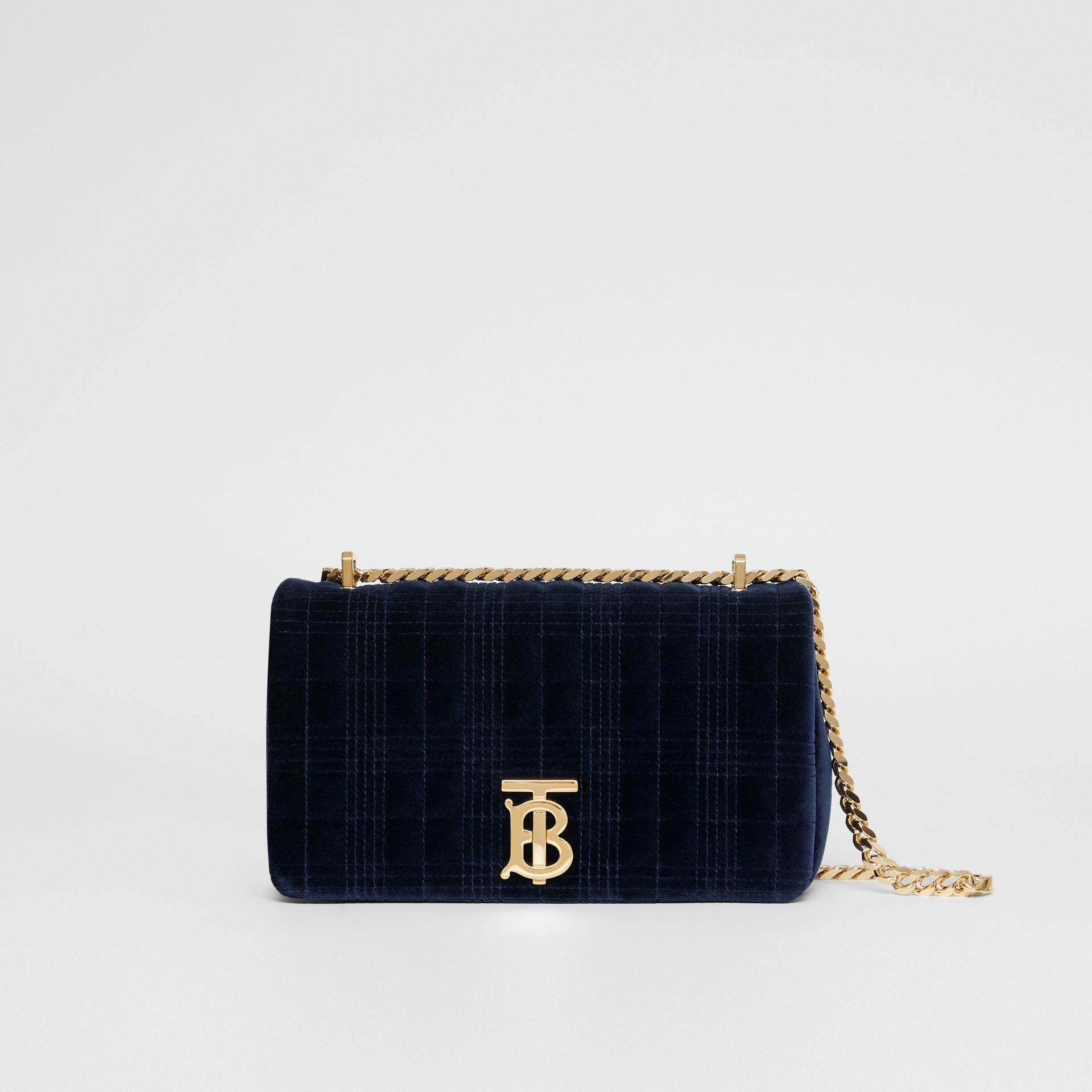 Small Quilted Velvet Lola Bag in Navy - Women | Burberry - gallery image 0