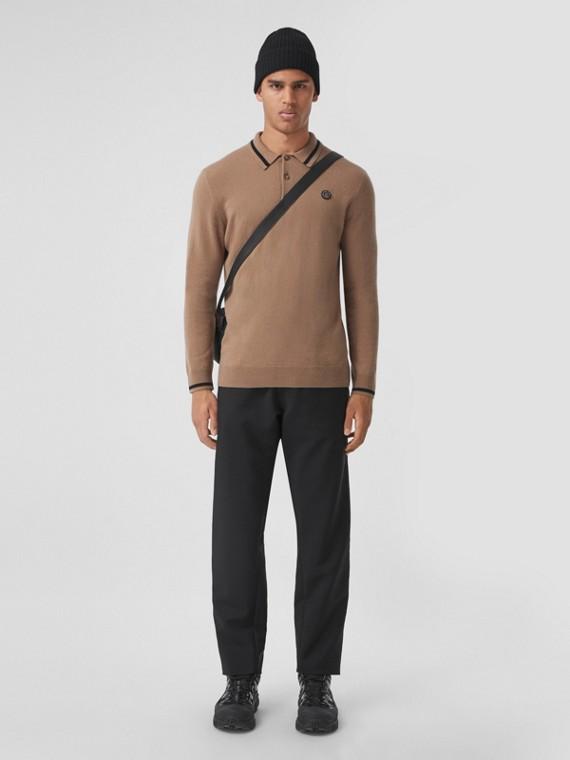 Long-sleeve Monogram Motif Cashmere Polo Shirt in Camel