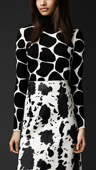 Animal Print Silk Sweater