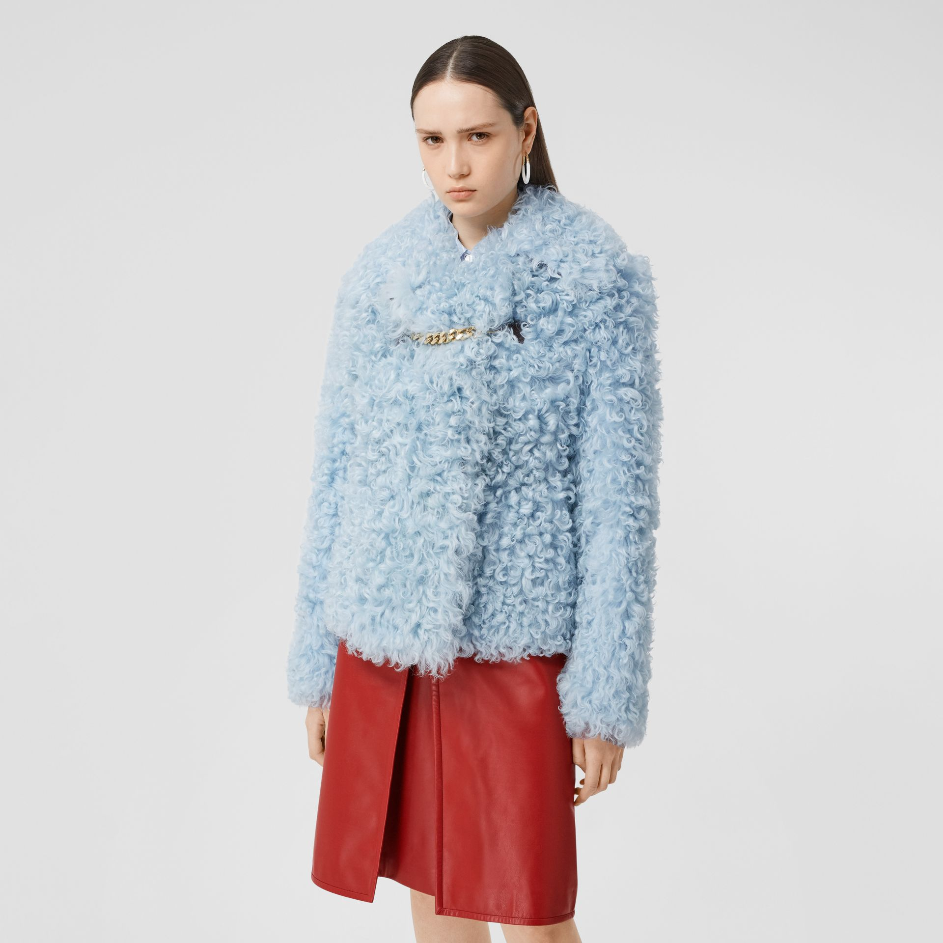 Chain Detail Shearling Jacket in Pale Blue - Women | Burberry United Kingdom - gallery image 5
