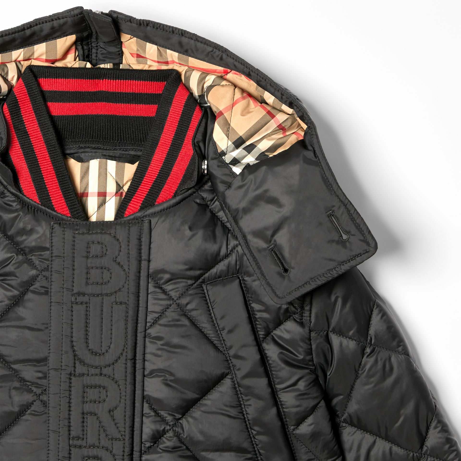 Detachable Hood Logo Detail Diamond Quilted Coat | Burberry United Kingdom - gallery image 5
