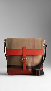 Check Canvas Crossbody Bag