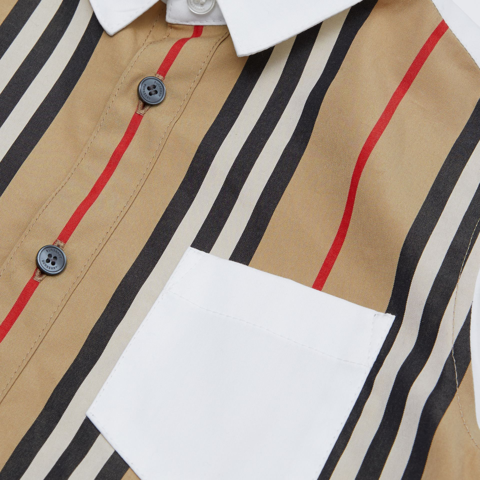 Icon Stripe Panel Stretch Cotton Shirt in White | Burberry United Kingdom - gallery image 1