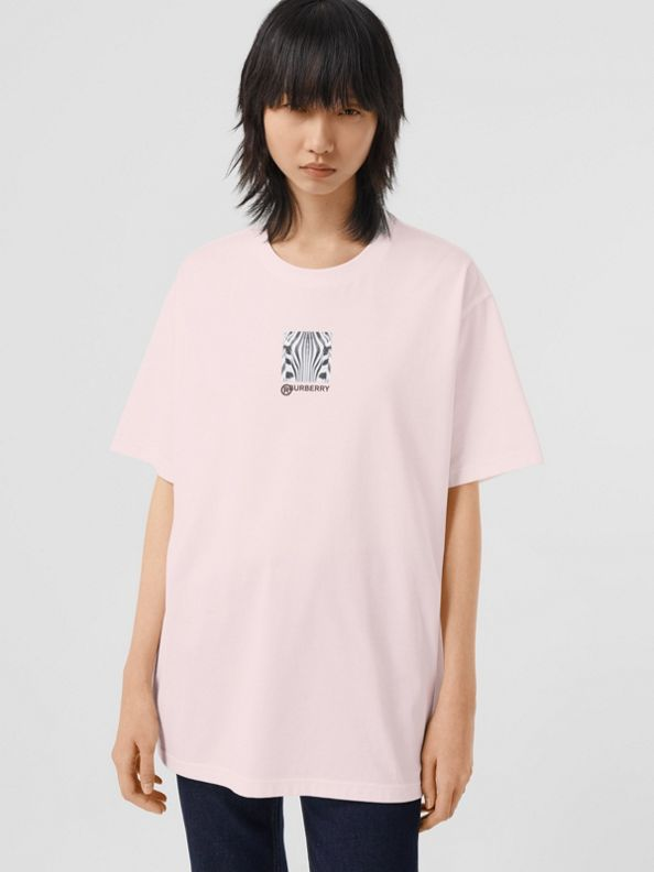 Montage Print Cotton Oversized T-shirt in Alabaster Pink