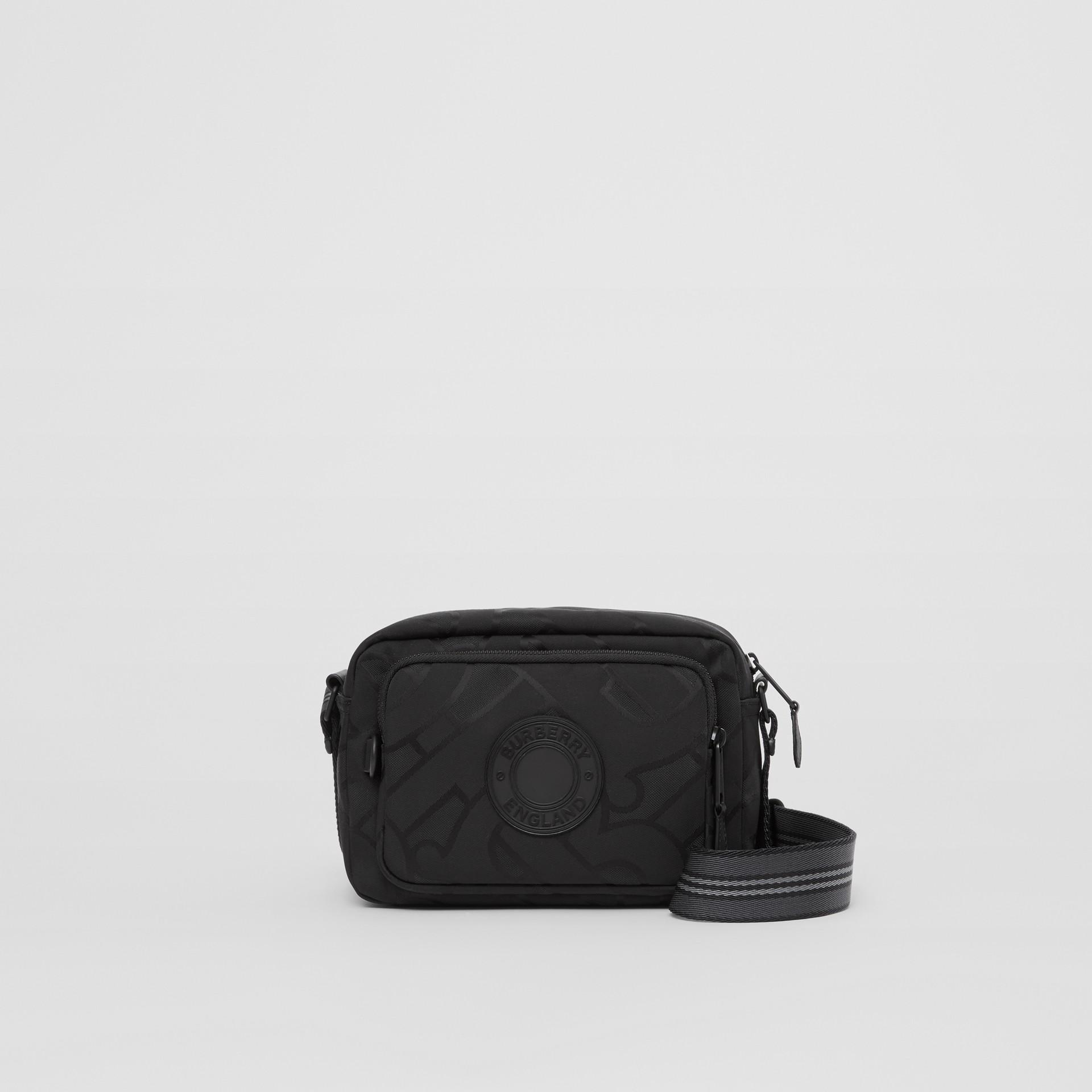 Monogram Recycled Polyester Crossbody Bag in Black - Men   Burberry United Kingdom - gallery image 0