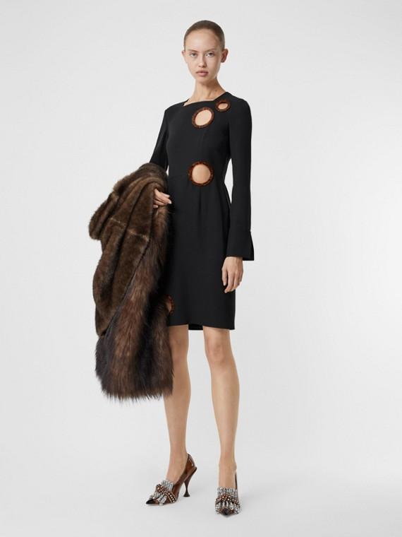 Cut-out Detail Stretch Silk Crepe Shift Dress in Black