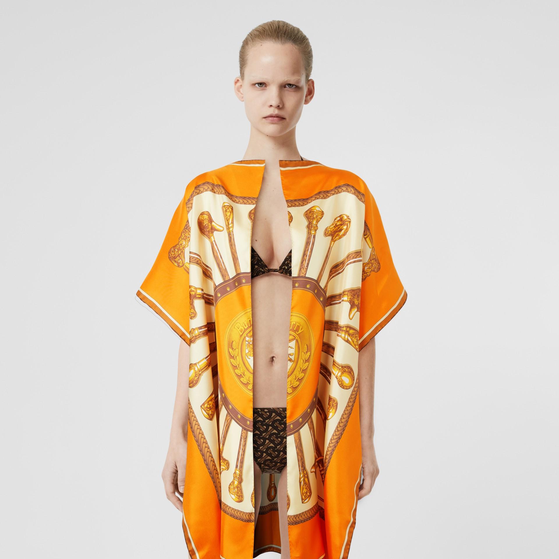 Archive Scarf Print Silk Twill Cape in Bright Orange - Women | Burberry - gallery image 5