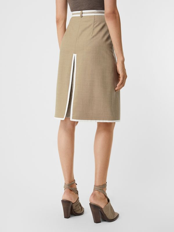 Box-pleat Detail Wool Cashmere A-line Skirt in Pecan Melange - Women | Burberry - cell image 2