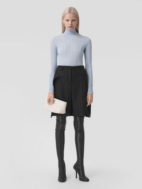 Monogram Motif Silk Turtleneck Sweater in Pale Blue