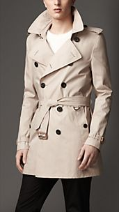 Trench coat de longitud media en algodón de paracaídas
