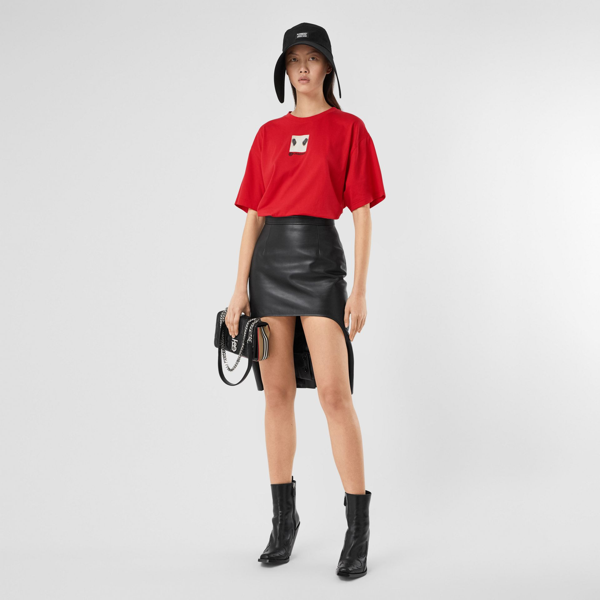Montage Print Cotton Oversized T-shirt in Bright Red | Burberry United Kingdom - gallery image 0