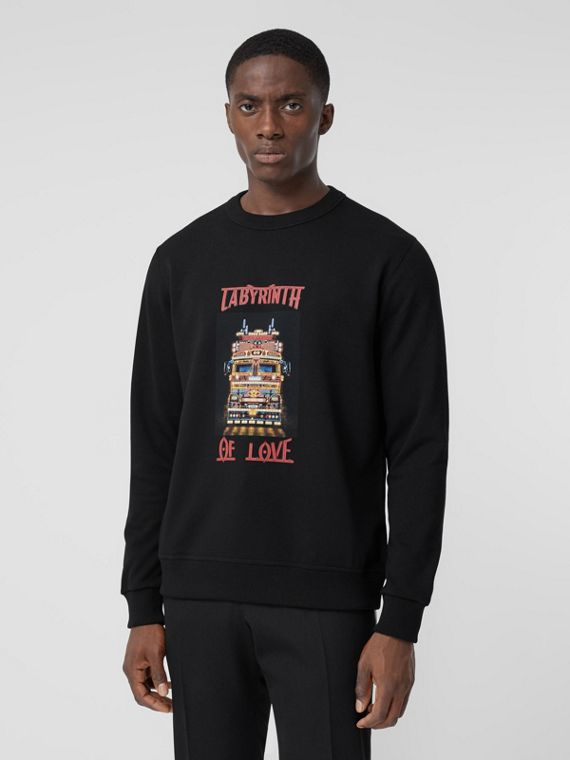Slogan Print Cotton Sweatshirt in Black
