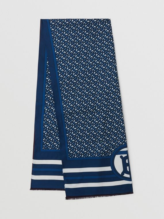 Reversible Monogram Print Silk Scarf in Cerulean Blue