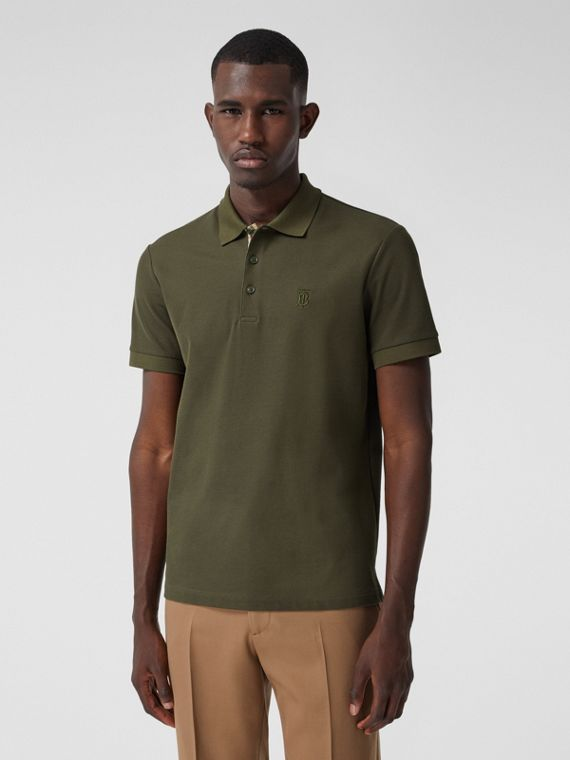 Monogram Motif Cotton Piqué Polo Shirt in Dark Olive