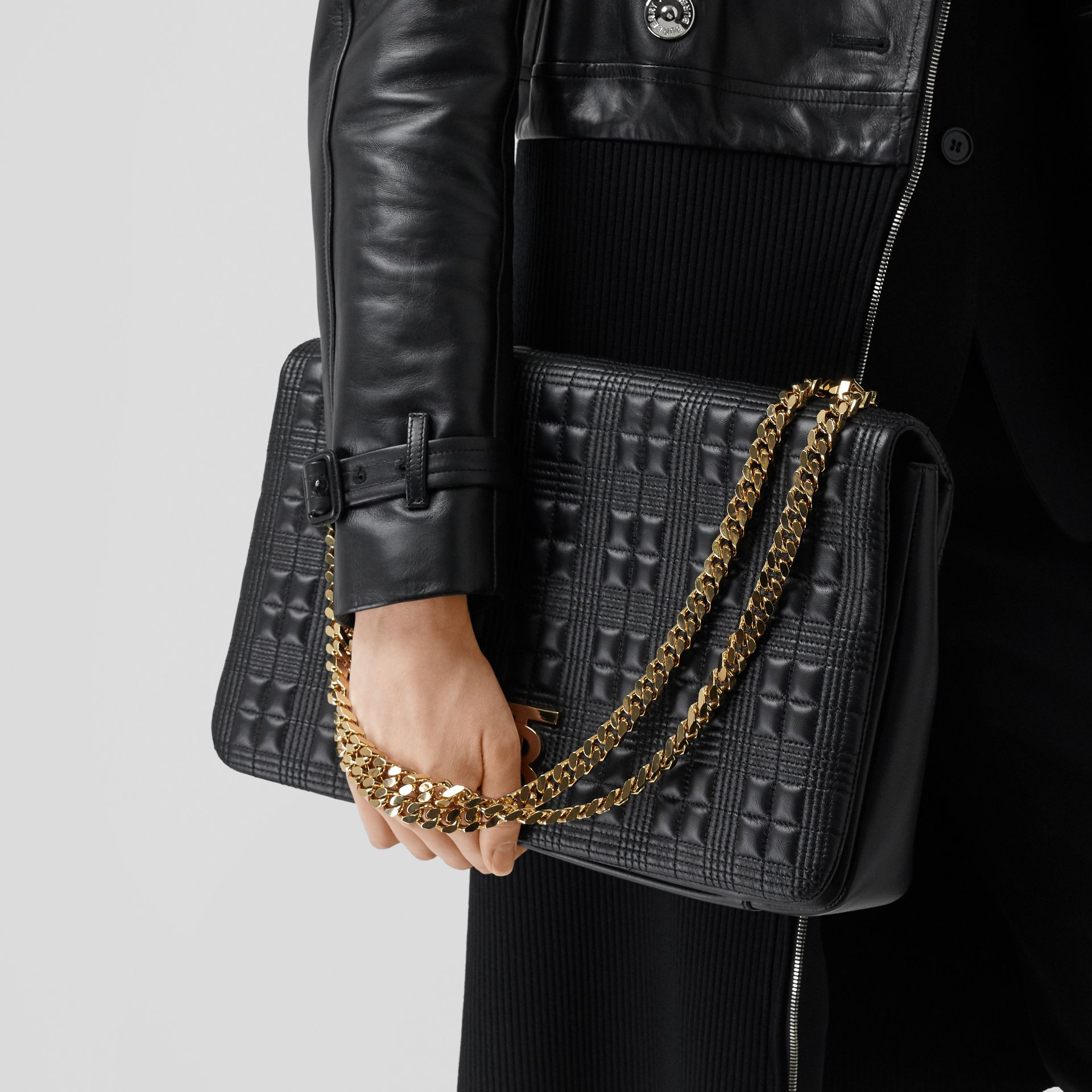 Extra Large Quilted Lambskin Lola Bag in Black - Women | Burberry - gallery image 8