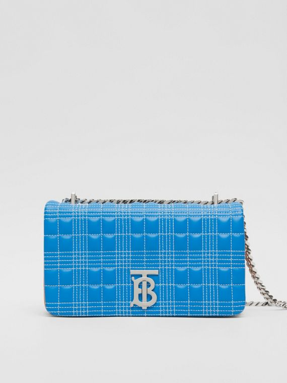 Small Quilted Tri-tone Lambskin Lola Bag in Cyan Blue/orange/pink
