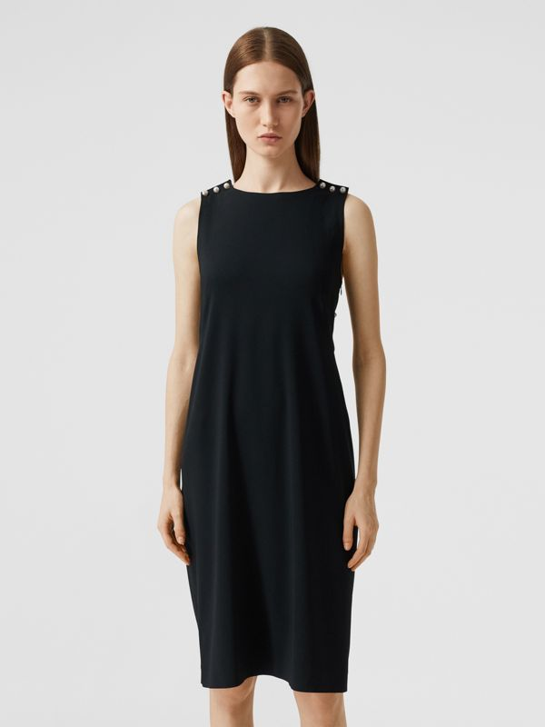 Glass Pearl Detail Satin Crepe Shift Dress in Black - Women | Burberry - cell image 2