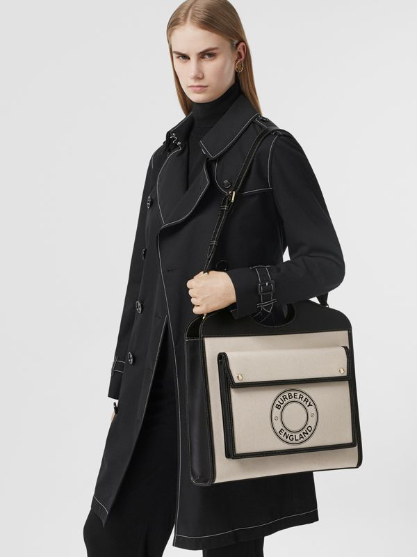 Medium Logo Graphic Canvas and Leather Pocket Bag in Black/white - Women | Burberry - cell image 2