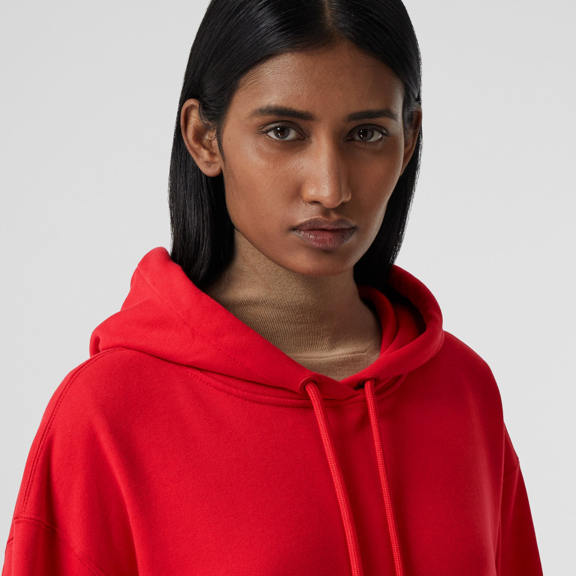 Love Print Cotton Oversized Hoodie in Bright Red - Women | Burberry - gallery image 1