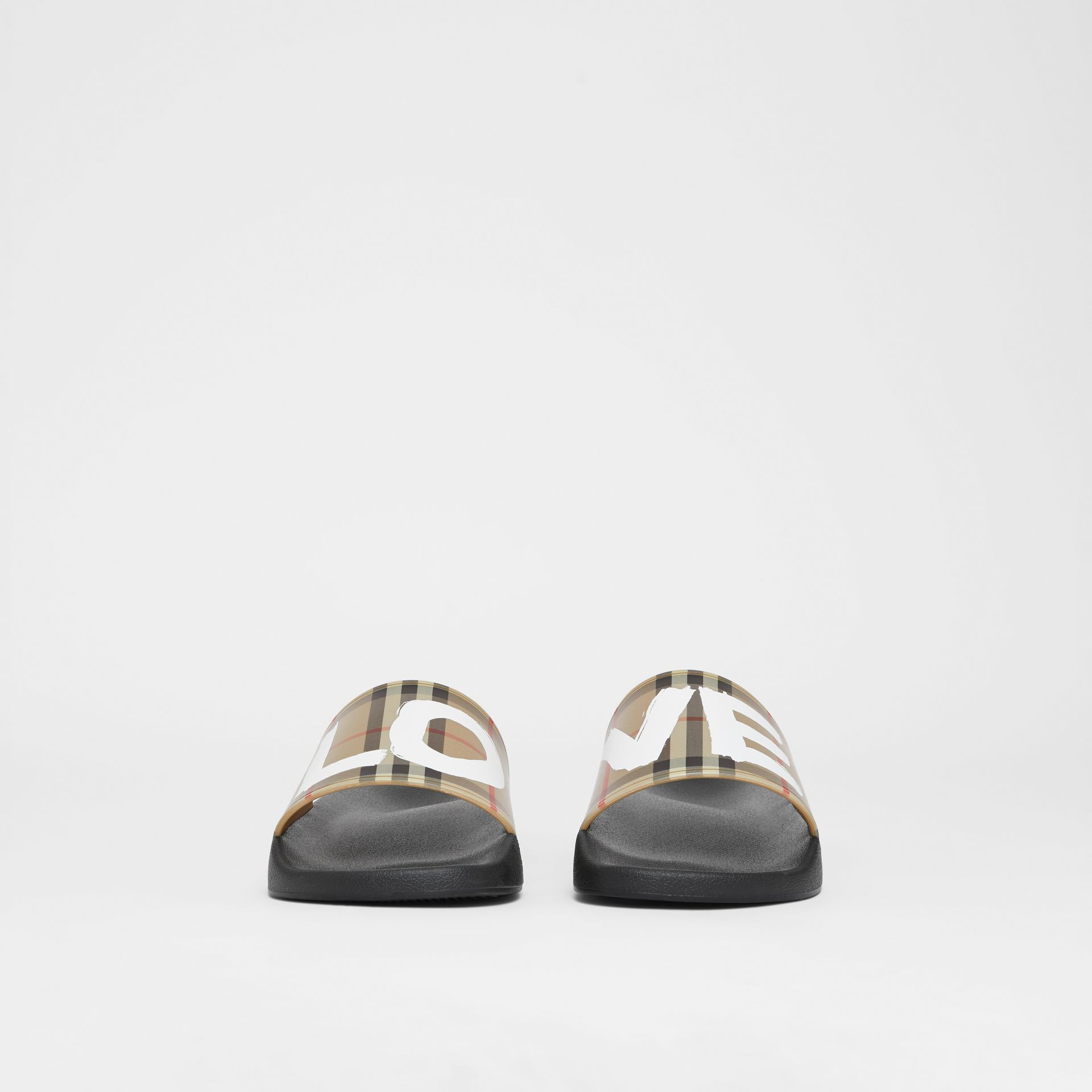 Love Print Vintage Check Slides in Archive Beige - Men | Burberry - gallery image 2
