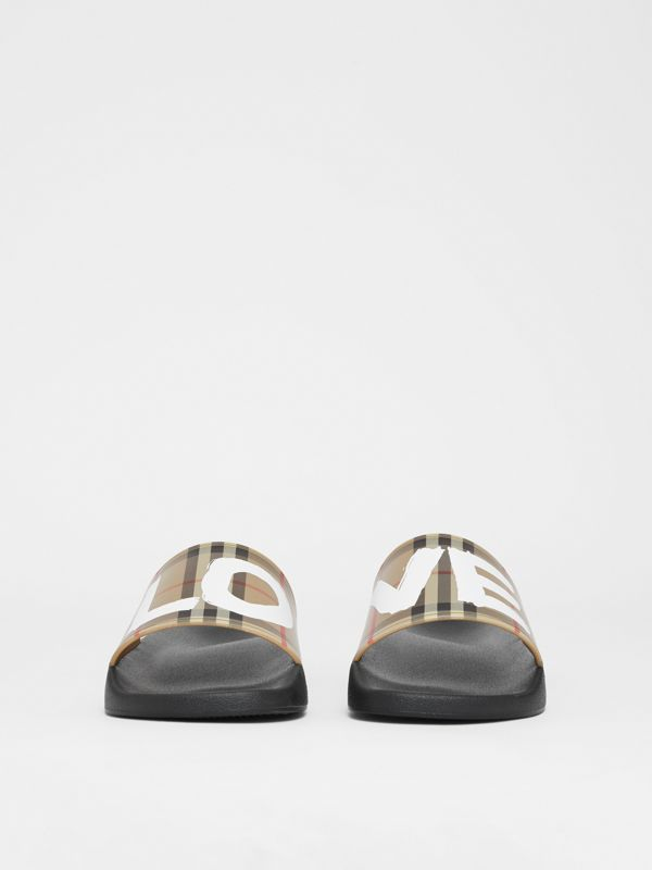 Love Print Vintage Check Slides in Archive Beige - Men | Burberry - cell image 2