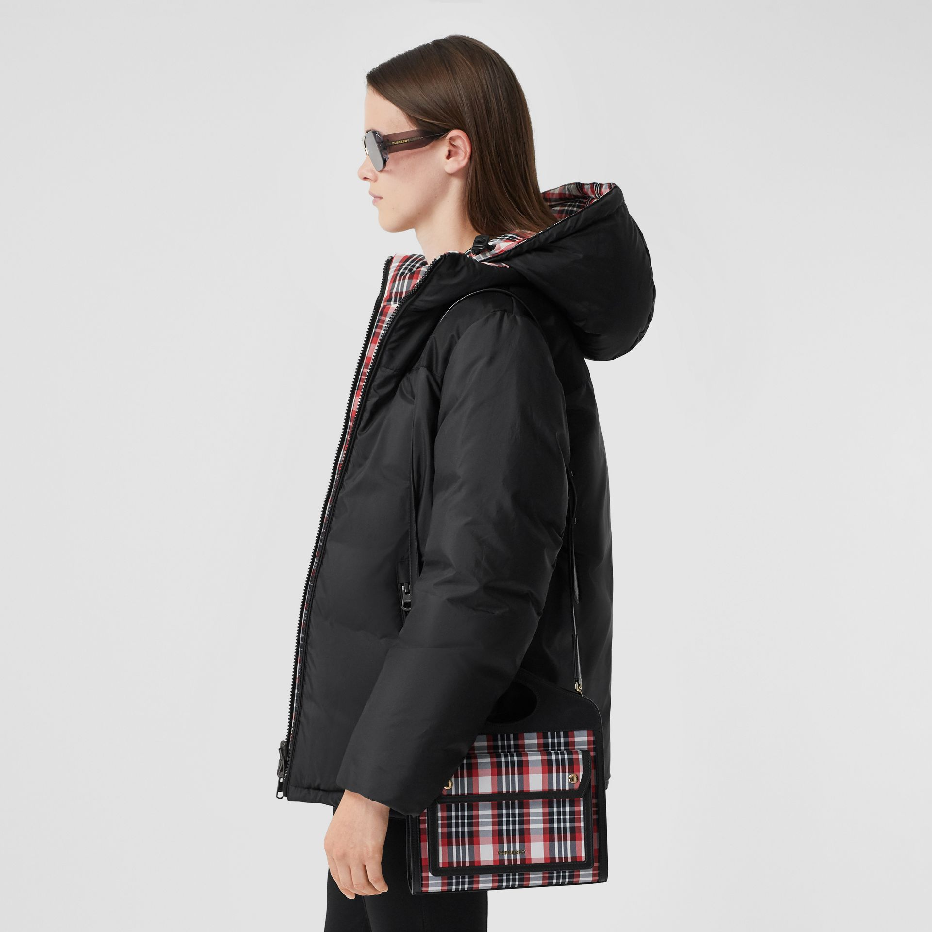 Mini Tartan Nylon and Leather Pocket Bag in Bright Red - Women | Burberry - gallery image 9