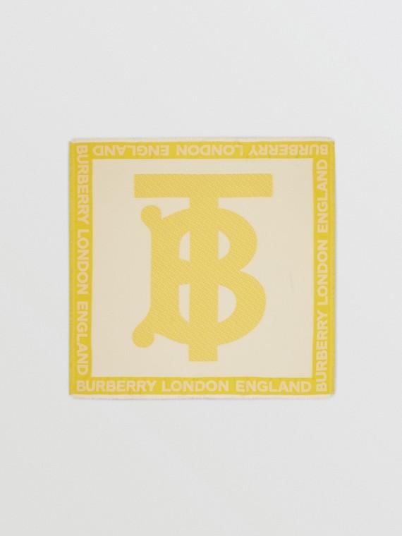 Lenço grande de seda em fil coupé com monograma (Amarelo)