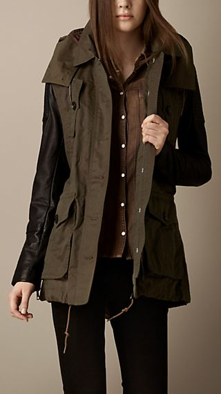 Leather Sleeve Waxed Parka