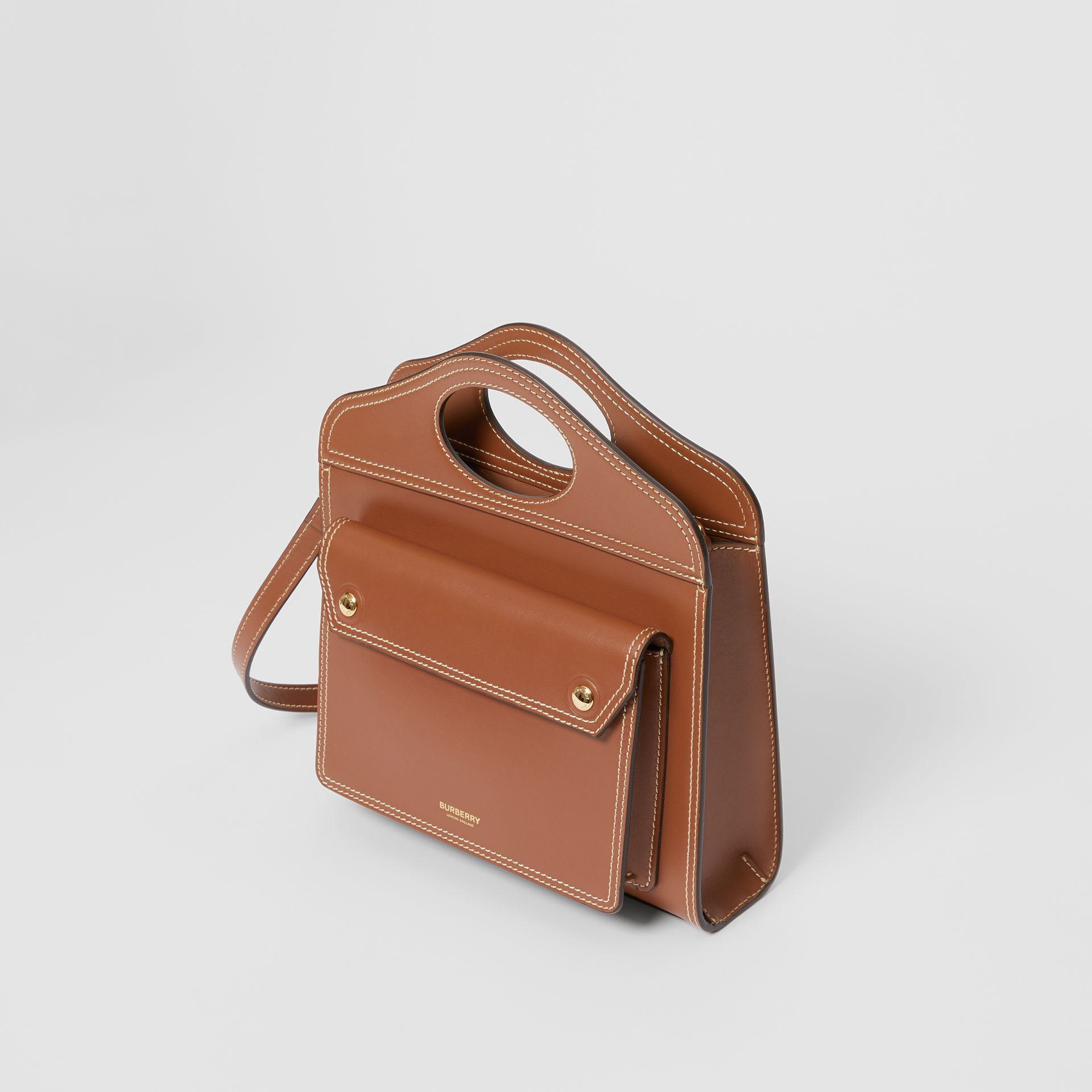 Mini Topstitched Leather Pocket Bag in Malt Brown - Women | Burberry - gallery image 3
