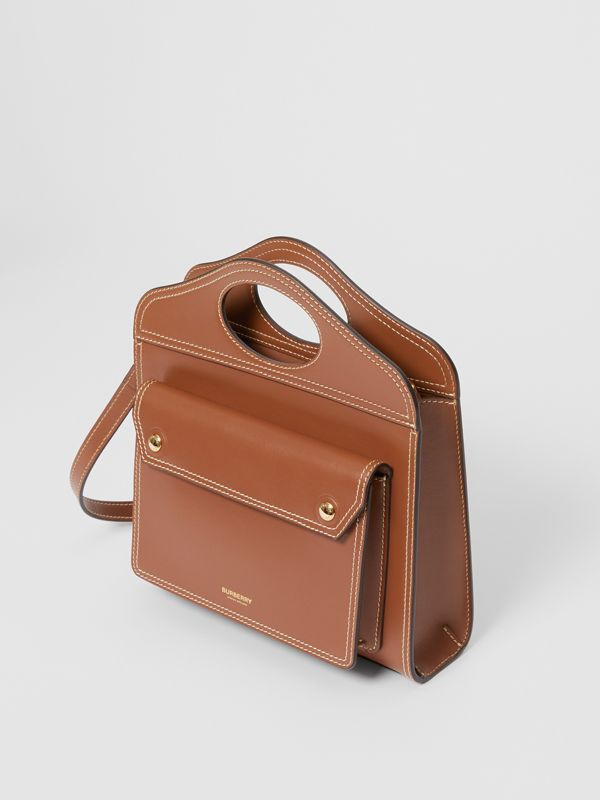 Mini Topstitched Leather Pocket Bag in Malt Brown - Women | Burberry - cell image 3