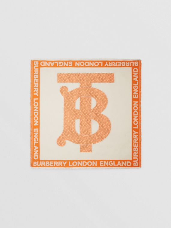 Grand carré de soie mélangée en fil coupé Monogram (Orange)