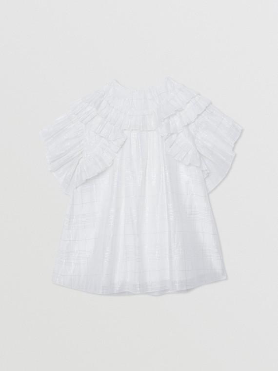 Ruffle Detail Metallic Check Cotton Silk Dress in White