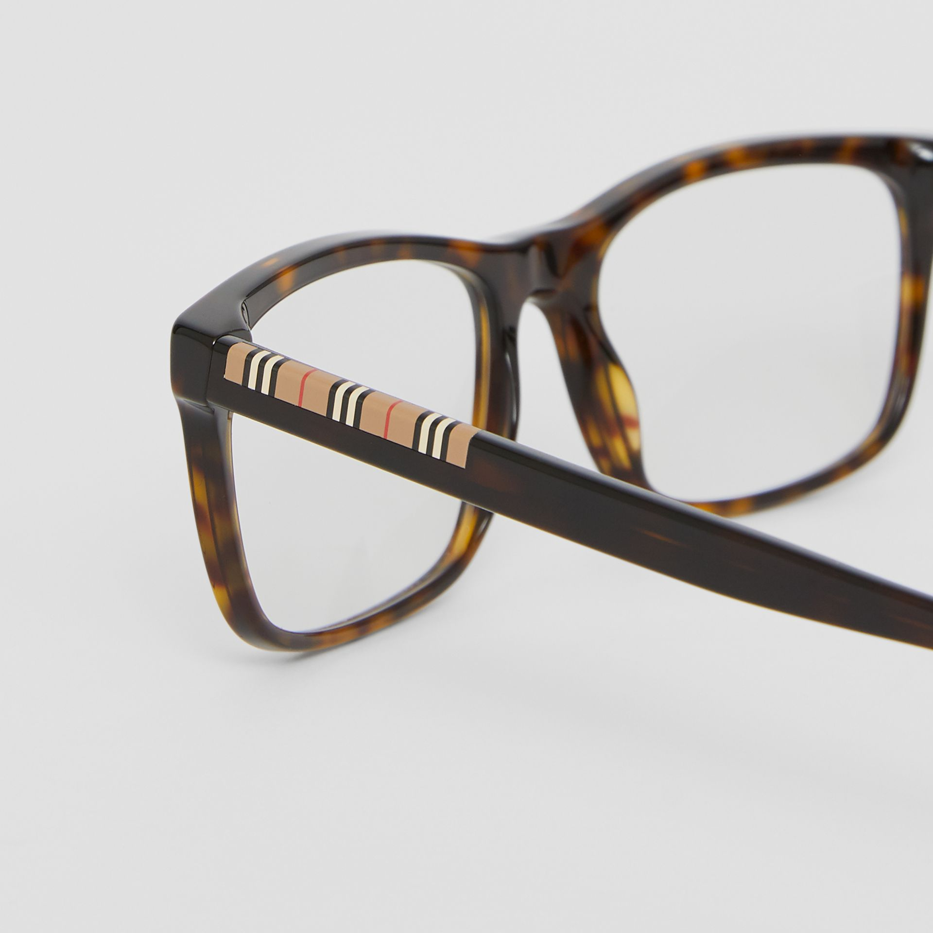Icon Stripe Detail Rectangular Optical Frames in Tortoiseshell - Men | Burberry - gallery image 1