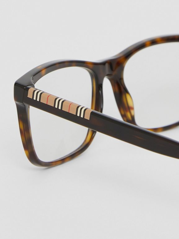 Icon Stripe Detail Rectangular Optical Frames in Tortoiseshell - Men | Burberry - cell image 1