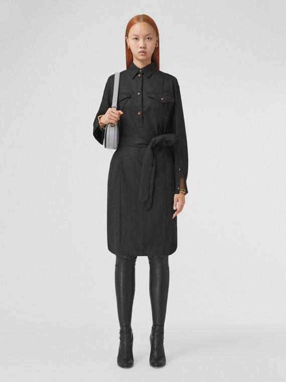 Logo Appliqué Wool Tie-waist Shirt Dress in Dark Grey Melange
