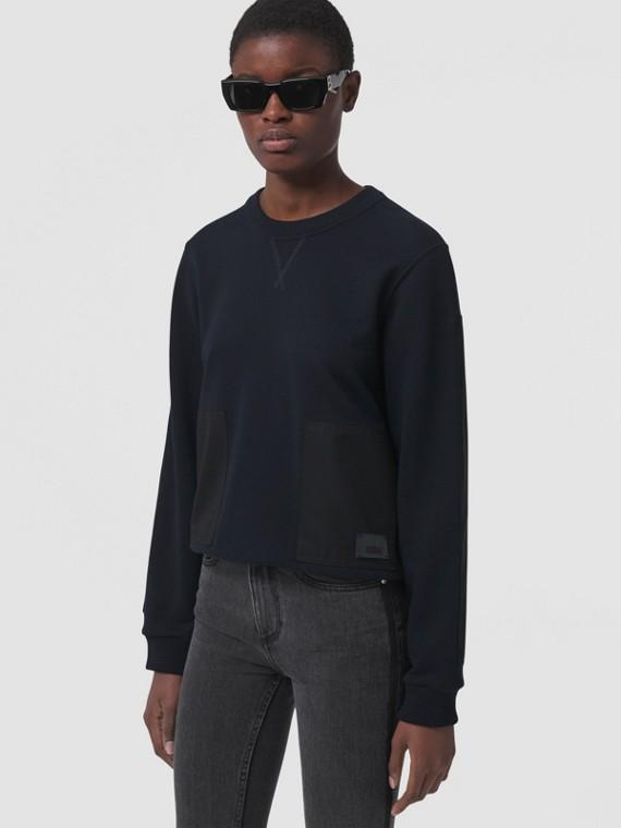 Contrast Panel Cotton Sweatshirt in Navy Black