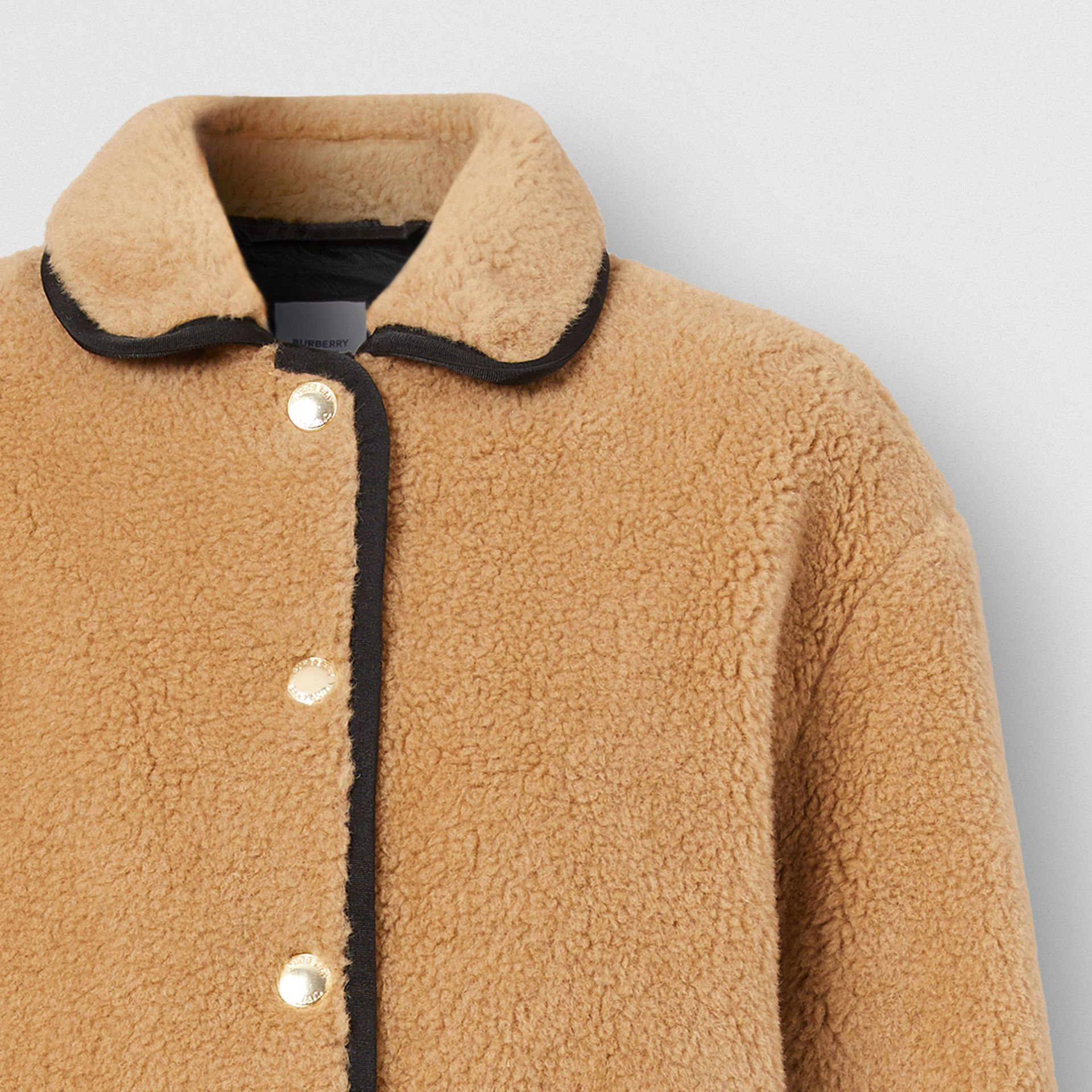 Stripe Intarsia Fleece Jacket in Light Camel - Women | Burberry Canada - gallery image 6
