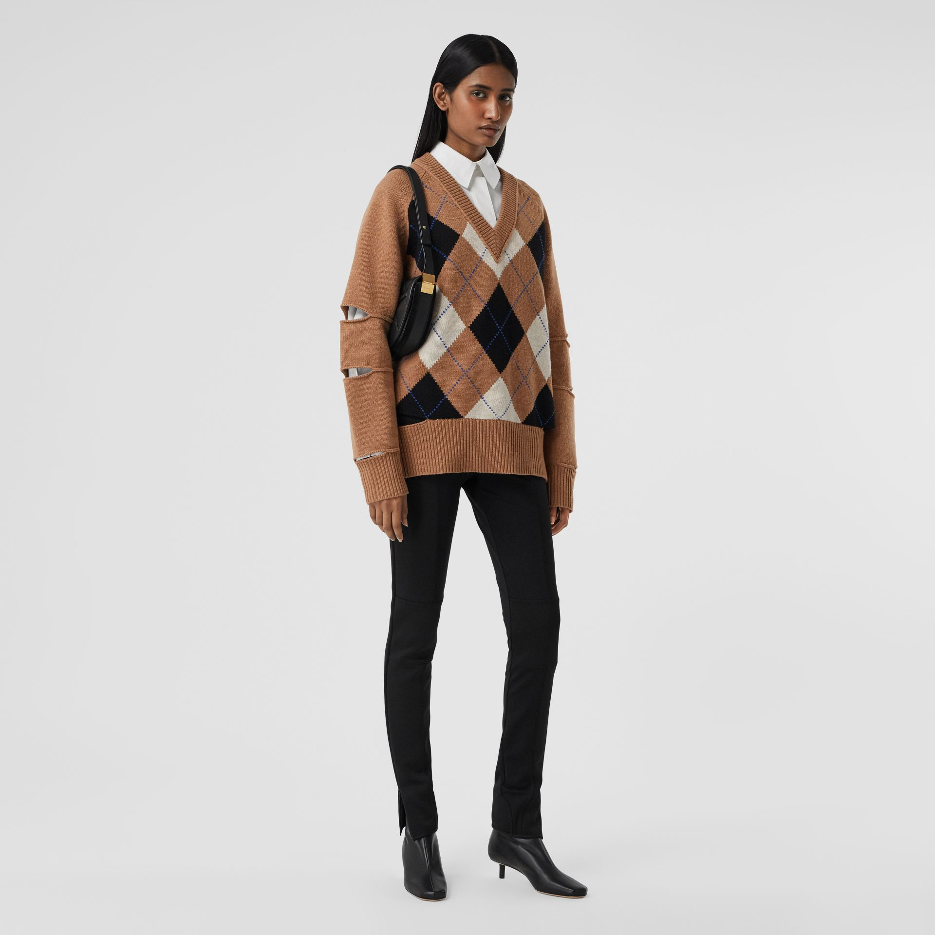 Cut-out Detail Argyle Intarsia Wool Cashmere Sweater in Camel - Women | Burberry - gallery image 0