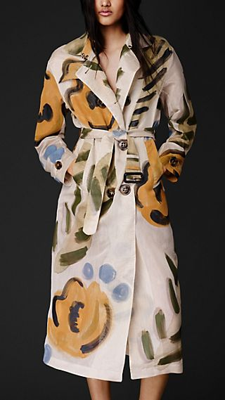 Flower Motif Organdy Trench Coat