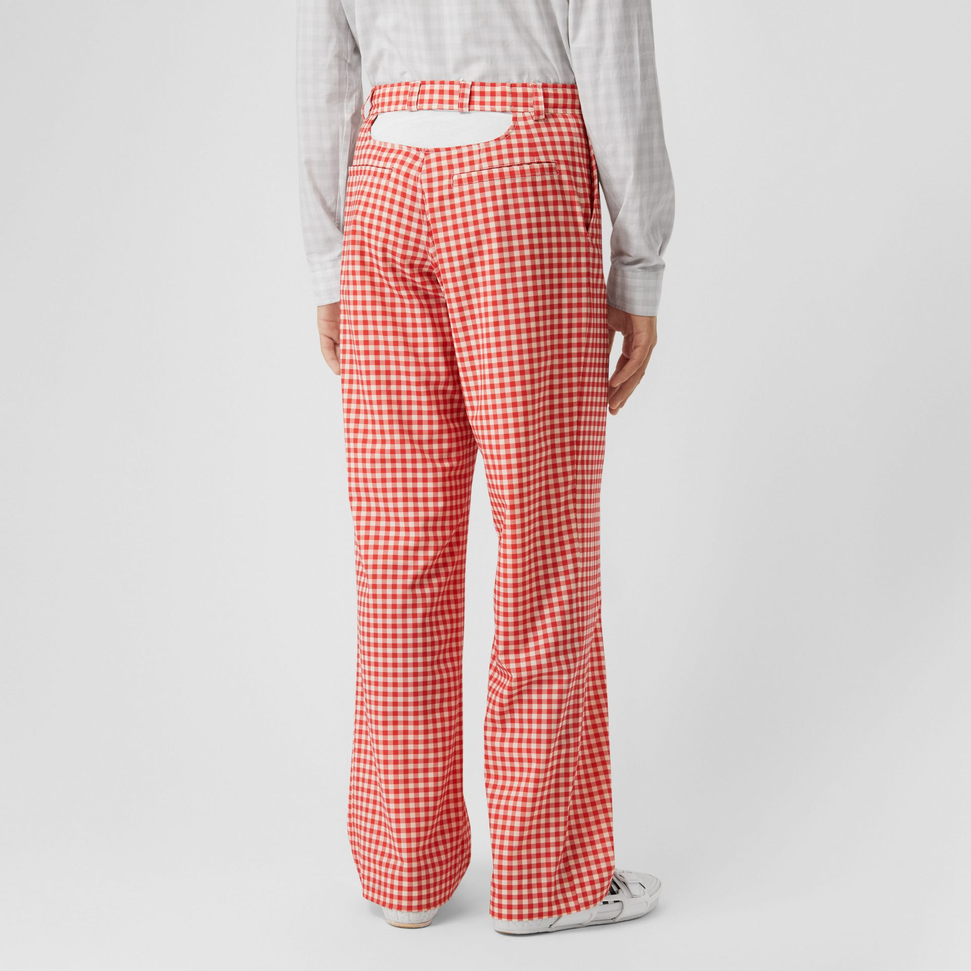 Cut-out Back Gingham Stretch Cotton Trousers in Red | Burberry - gallery image 4