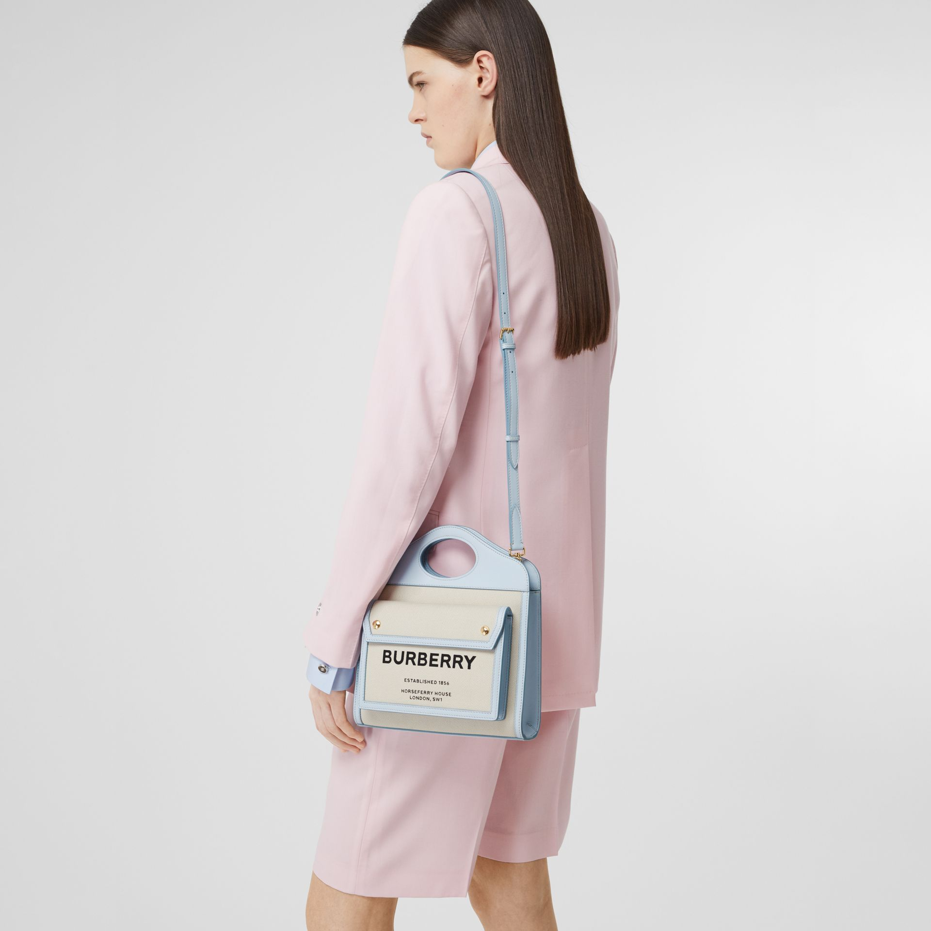 Mini Two-tone Canvas and Leather Pocket Bag in Natural/pale Blue | Burberry United States - gallery image 8