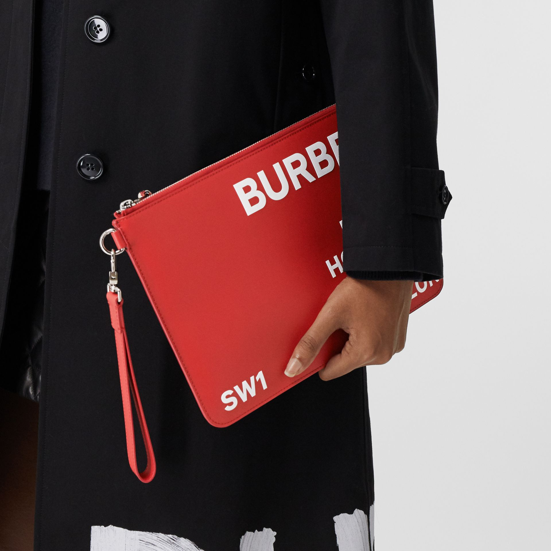 Horseferry Print Leather Zip Pouch in Red/white | Burberry - gallery image 2