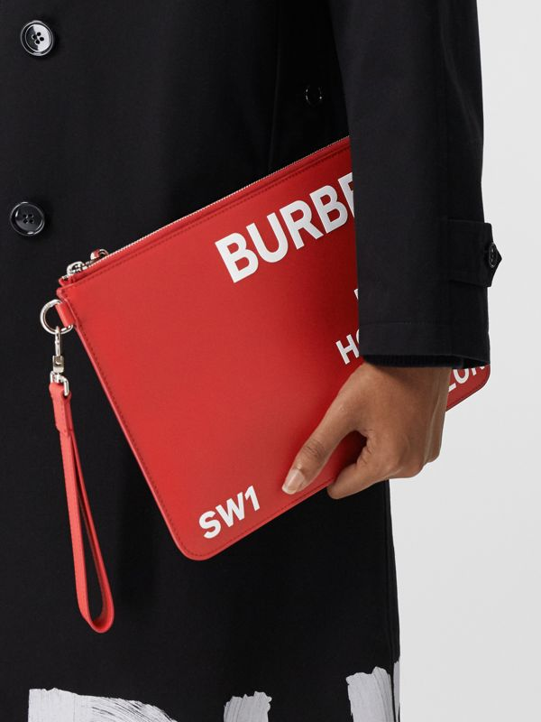 Horseferry Print Leather Zip Pouch in Red/white | Burberry - cell image 2